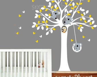 Nursery Wall Decal - Wall Decals Nursery -  Tree and Koalas decal. Koala wall decal. Baby tree decal. Koala