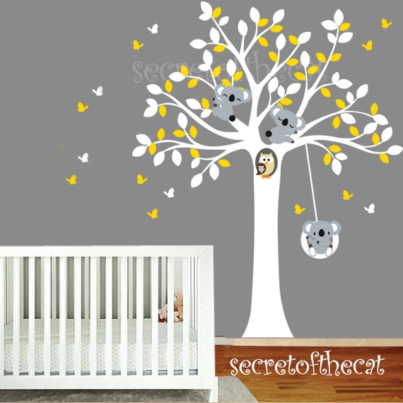 arbre et koalas sticker mural stickers chambre denfant. Black Bedroom Furniture Sets. Home Design Ideas