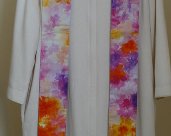 Clergy Stole:  Watercolor Flowers