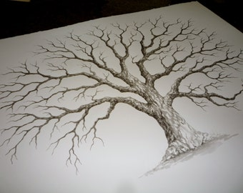 LARGE OAK Thumbprint Guest Book Tree - 24x18  Customized  Giclée Print of my Original Painting.  Accommodates up to 125 - 200 guests