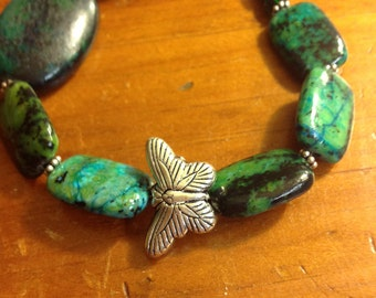 Blue-Green Serpentine & Sterling Butterfly Bracelet