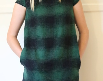 Emerald Plaid Shift Dress Vintage