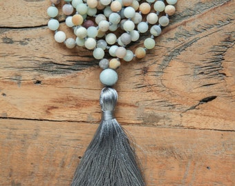 Blue necklace with tassel / boho necklace / Blue Amazonite necklace / Short tassel necklace / Hand knotted Amazonite beads with grey tassel