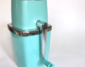 Ice Grinder Turquoise Maid of Honor 1950s   Vintage Ice Crusher   Blue Kitchen Grinder