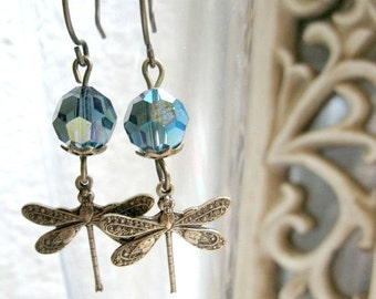 Dragonfly earrings, vintage style, blue Swarovski crystal beads - brass dragonfly charm