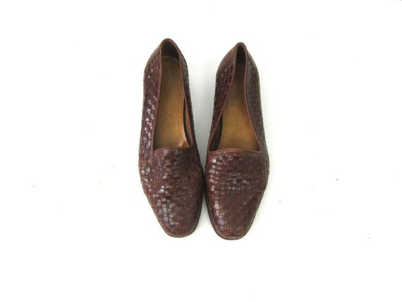 Woven Leather Shoes 1990s Brown Leather Slip Ons Woven Leather Sandals Modern Braided Minimal Chic Loafers Womens Size 8
