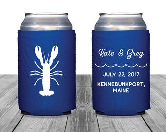 Neoprene Can Coolers, Personalized Coolies, Wedding Can Huggers, Custom, Beach Wedding, Lobster, Summer Wedding, Wedding Decor, 1329