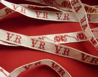 old original Ribbon R.V. * 1.10 m * cotton large teeint red and white