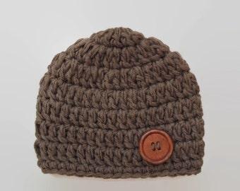 Sale! Newborn crochet hat, brown baby boy hat, winter baby hat, wool baby hat, baby boy beanie,  boy hospital hat, newborn boy hat