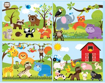 Clipart Bundle - Safari Animals, Jungle, Lion, Hippo, Monkey, Forest, Fox, Farm Horse, Cow, Commercial Use, Vector clip art, SVG Cut Files