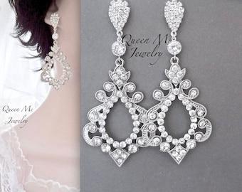 Long Crystal earrings, Large crystal chandelier earrings, Victorian style crystal earrings, Wedding earrings, Art Deco earrings ~ EXOTIC