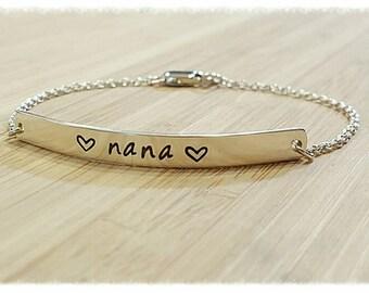 Sterling Silver ID Bar Bracelet, Skinny Bar Bracelet, Hand Stamped, Personalized, Custom, Names, Date, Message, Cuff Bracelet