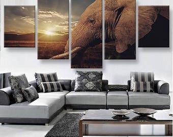 Elephant Gaze Canvas Set Animal Canvas Set Animal Poster Animal Wall Decor Elephant Poster Nature Wall Decor