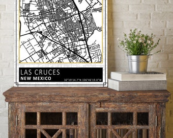 Las Cruces, New Mexico, Las Cruces City Map, City Map, Street Map, Street Sign, Map Decor, Black and White Map, Modern Map, City Street Map