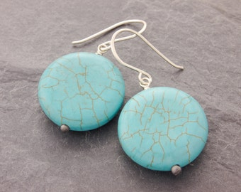 Turquoise Earrings, round turquoise, turquoise jewelry, blue stone earrings, gifts for her, gifts under 10, holiday sale, cyber monday