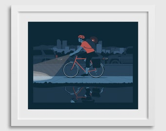 Bicycle Art Poster • Evening City Bike Ride Commuter in Denver Colorado Fine Art Print Gift Decor Limited Edition Travel Outdoors Path