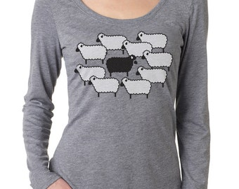 Black Sheep Women's Long Sleeve T-Shirt, Grey Tri-Blend Long-Sleeve Scoop Tee, Gift for Her, Art T-shirt, Cool t-shirt
