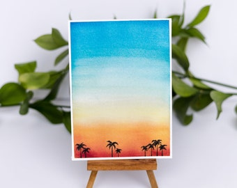 Beach Sunset Watercolor Illustration Print