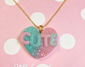 "Kawaii Resin Necklace, Cute Heart Pendant, gold chain 16"""