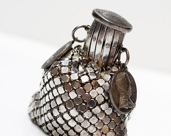 Silver Vintage Bag , Dice Pouch , Geek Gift for Men , Dice Bag , Dice Bag of Holding , Silver bag , Geek Gift , Vintage Bag , Vintage