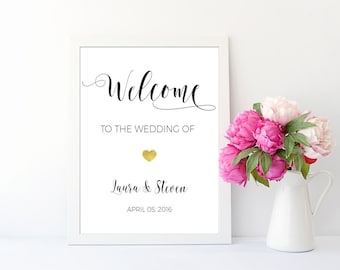 Welcome Wedding Sign Personalized Wedding Printable Custom Wedding Wall Art Reception Sign Print Wedding Gift Wedding Signage