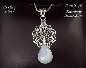 Tree of Life Necklace: Moonstone and Amethyst Gems in an Ornate 925 Sterling Silver Pendant | Celtic, Gifts for Women, Silver Pendant 044