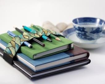 Adjustable Bandolier // green waves // (a better pencil case, journal pen holder, book strap, pen loop, pencil roll, pen bandolier)