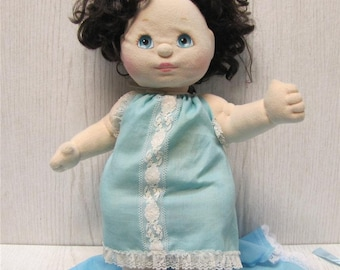 My Child Girl Doll 1985 Mattel Dark Brown Hair Aqua Eyes w/ Green Heart