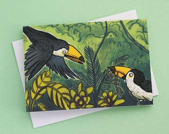 Two Toucans- illustrated greeting card