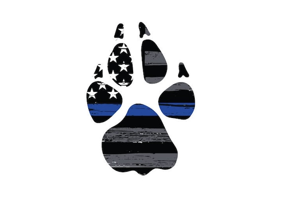 Famous Thin Blue Line K9 Paw Print Vehicle Decal. Vinyl Decal. Law LE14