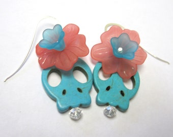 Sugar Skull Earrings Day Of The Dead Jewelry Turquoise Blue Pink Flower