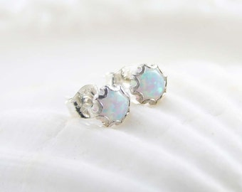 Small Opal Earrings ~ Sterling Silver Opal Stud ~ October Birthday ~ Bridesmaid Gift ~ Gift for Her ~ Simple Everyday Jewelry