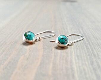 Dainty Turquoise Earrings, Sterling Silver Dangle, Blue Turquoise Jewelry, Small Blue Earrings, Southwest Earrings, December Birthstone