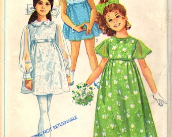Simplicity 8175 Girl's 1960s FLOWERGIRL PARTY DRESS In Two Lengths Size 6  ©1969