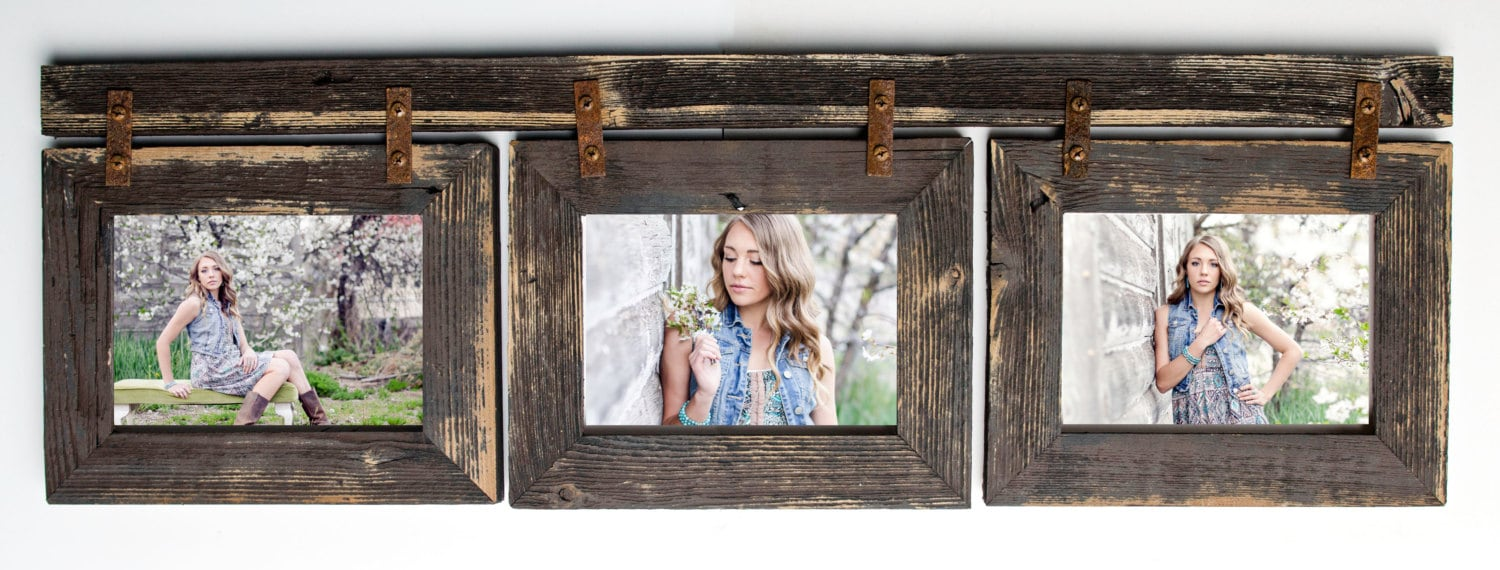rustic picture frames collages. Barnwood Collage Frame 3 Hole 5x7 Multi Opening Frame-Rustic Picture Frame-Reclaimed-Landscape Or Portrait-Collage Rustic Frames Collages O
