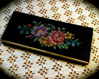 Vintage 1950's pristine Floral Petit Point Ladies' Comb Case (case only) with Beveled Glass Mirror