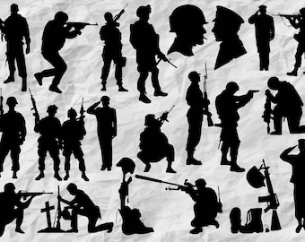 21 Soldier Silhouettes | Soldiers SVG cut files | Soldier Cliparts | Army silhouette | army bundle | digital files | vectors | printable