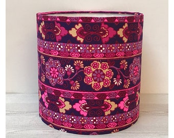 Vintage Retro 60s 70s Pink Floral Fabric Lamp Shade