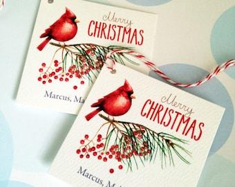 Christmas Tags, Personalized Christmas Tags, Custom Holiday Tags, Set of 20