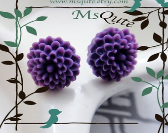 Petite pom pom  stud earrings - Purple
