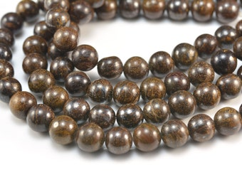 bronzite round beads - natural bronzite gemstone beads - smooth round stone beads - jewelry making beads - 4-14mm round beads - 15 inch