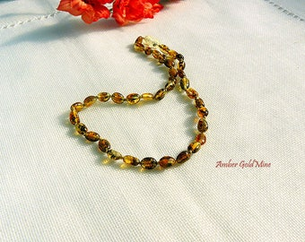 SALE - Amber teething necklace, Green Amber Necklace, Baltic amber teething necklace for kids, Children jewelry