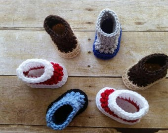 Crochet Booties, Baby Boy Shoes, Baby Gift, Crochet Boys Shoes, Baby Booties, Baby Shower Gift, Boys Shoes, Ready to Ship