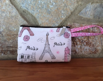Wristlet Purse in Eiffel Tower Print, Paris Theme with Silver and Pink Glitter