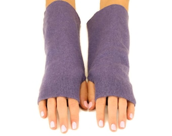 Upcycled Cashmere Fingerless Gloves, Arm Warmers, Texting Gloves, Handmade Cashmere Gloves, Wrist Warmers, Eco Friendly, Amethyst Purple