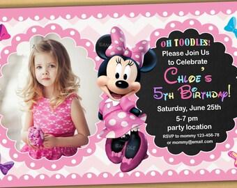 SALE, Minnie mouse Birthday Invitation, Minnie mouse Invitation, Minnie mouse chalkboard invitation, new 2 - Digital file