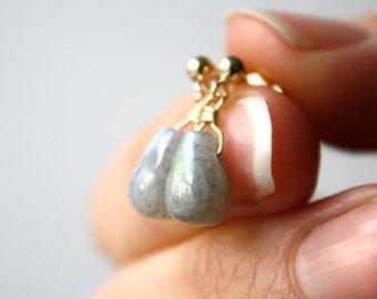 Grey Stone Earrings . Gray Stud Earrings . Labradorite Earrings Gold . Dangle Post Earrings . Grey Drop Earrings