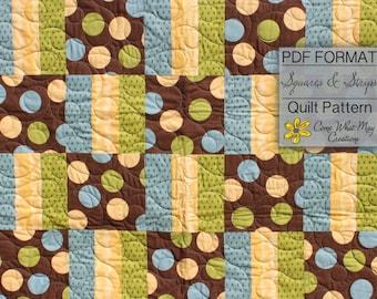 Squares & Strips Quilt Pattern, Baby Quilt Pattern, Fat Quarter Pattern, Rail Fence Quilt Pattern Beginner Quilt Pattern, Easy Quilt Pattern