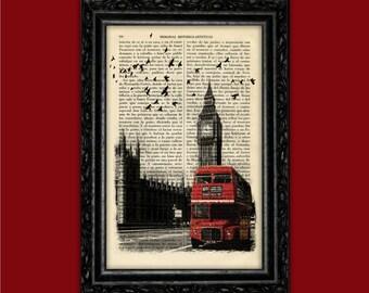 London and the Double-Decker Bus Art Print Big Ben Poster Book Art Street Dorm Room Print Gift Print Wall Decor Poster Dictionary Print