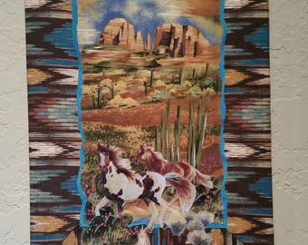 Western Art- Wild and Free- Vertical Appliqued wall art with red rock cliffs in distance